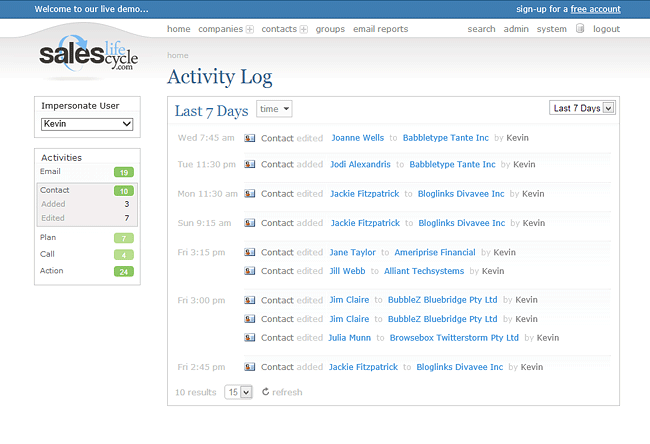 Activity Log Screenshot